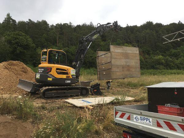 Zusammenbau des Rohrgrabenverbaus