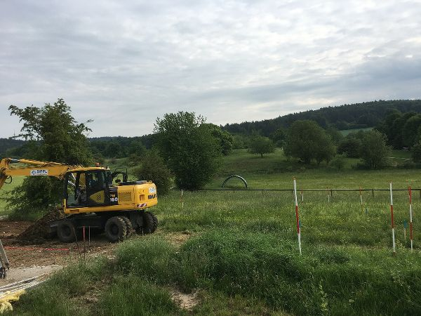 Abstecken der Baugrube
