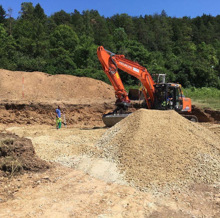 Baugrubenaushub und Unterbaubefestigung