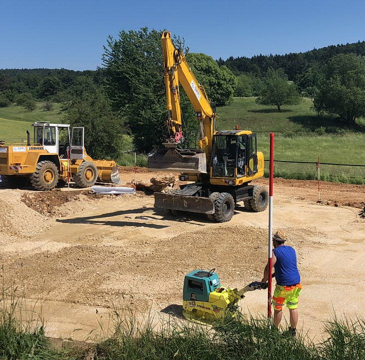 Gründungsarbeiten für eine Bodenplatte