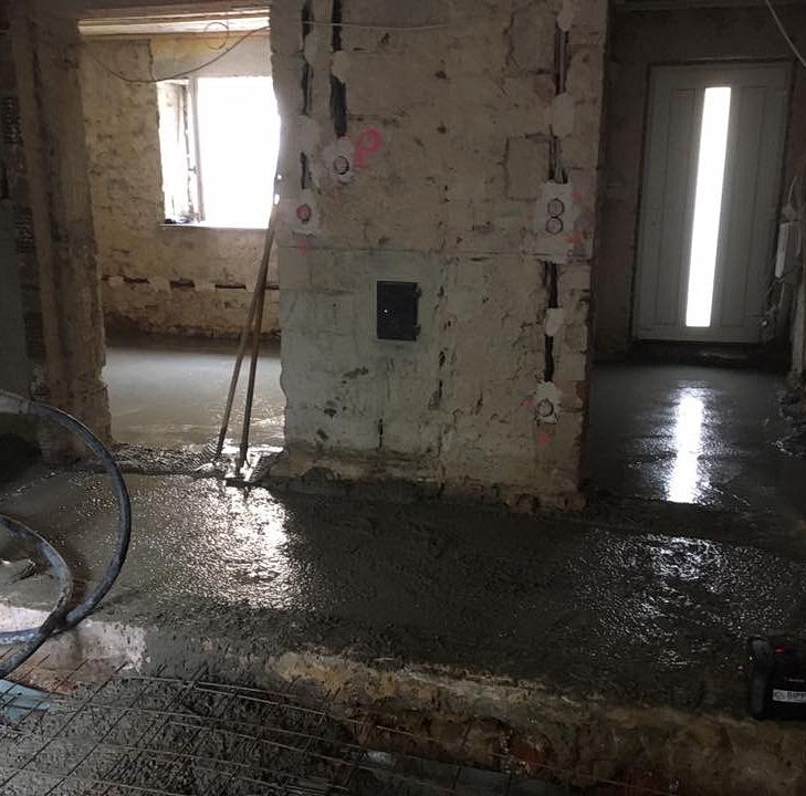Erstellung einer Bodenplatte in einem Bestandsgebäude